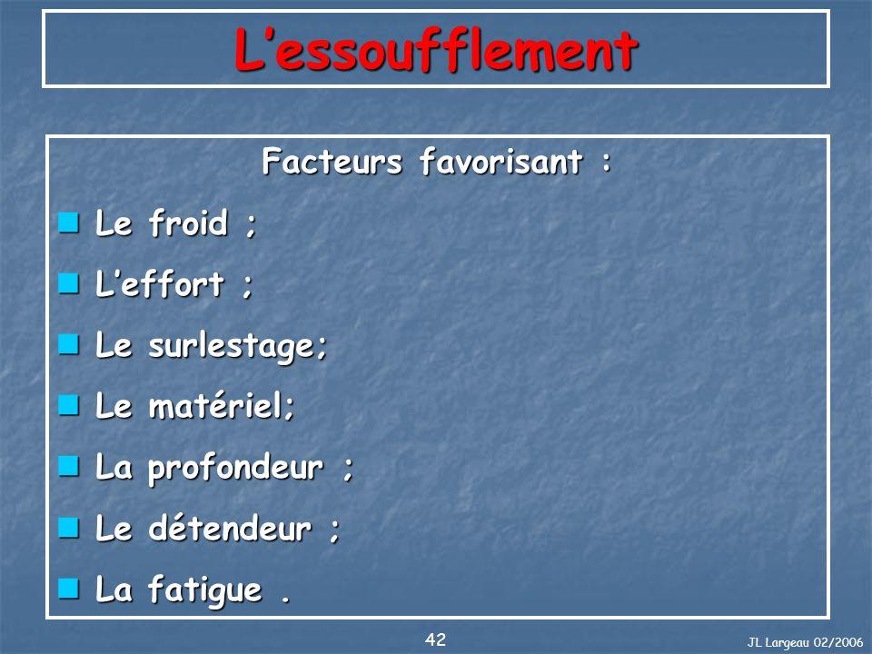 JL Largeau 02/2006 42 Lessoufflement Facteurs favorisant : Le froid ; Le froid ; Leffort ; Leffort ; Le surlestage; Le surlestage; Le matériel; Le mat