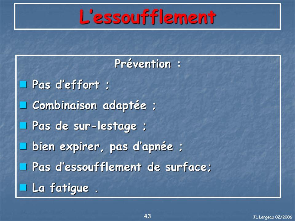 JL Largeau 02/2006 43 Lessoufflement Prévention : Pas deffort ; Pas deffort ; Combinaison adaptée ; Combinaison adaptée ; Pas de sur-lestage ; Pas de