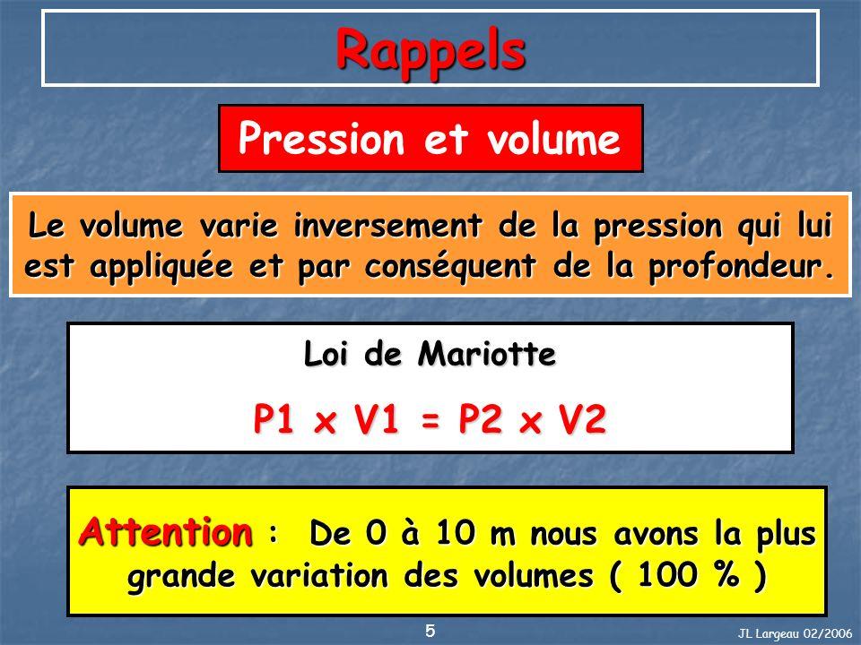JL Largeau 02/2006 5 Rappels Pression et volume Le volume varie inversement de la pression qui lui est appliquée et par conséquent de la profondeur. L