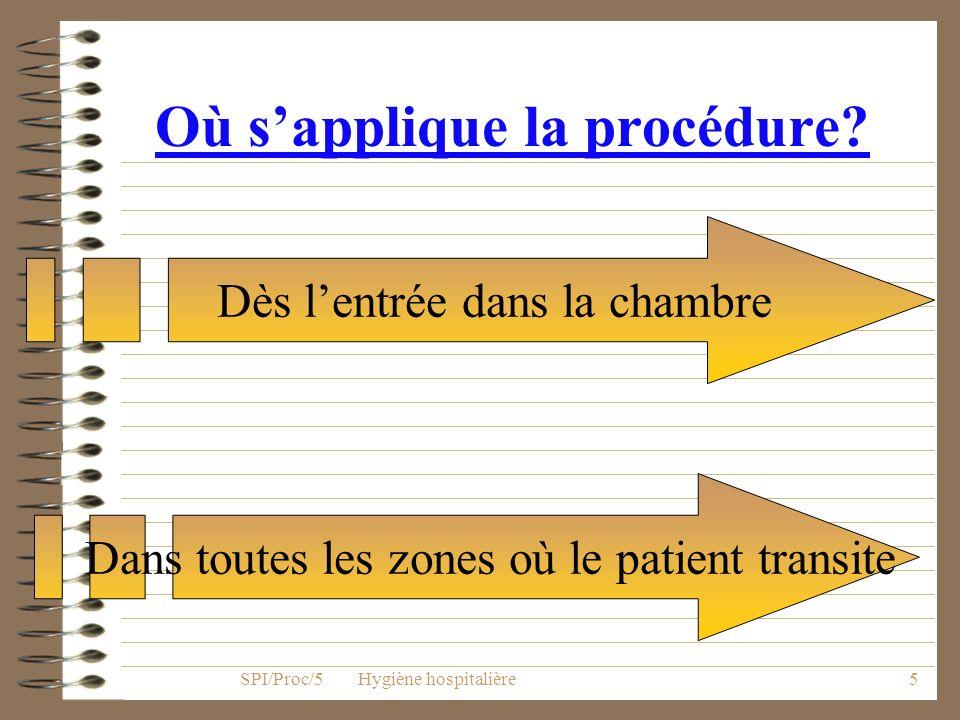 4 A qui s applique la procédure? À tout patient pour lequel le médecin à prescrit un isolement SPI/Proc/5 Hygiène hospitalière