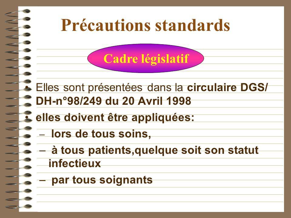 Précautions standard Ce sont des mesures de préventions contre le risque de transmission d agents infectieux transmissibles par lintermédiaire du sang