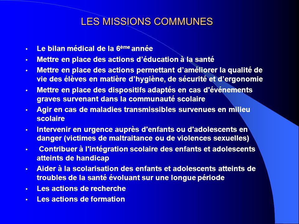 LES MISSIONS COMMUNES Le bilan médical de la 6 ème année Mettre en place des actions déducation à la santé Mettre en place des actions permettant damé