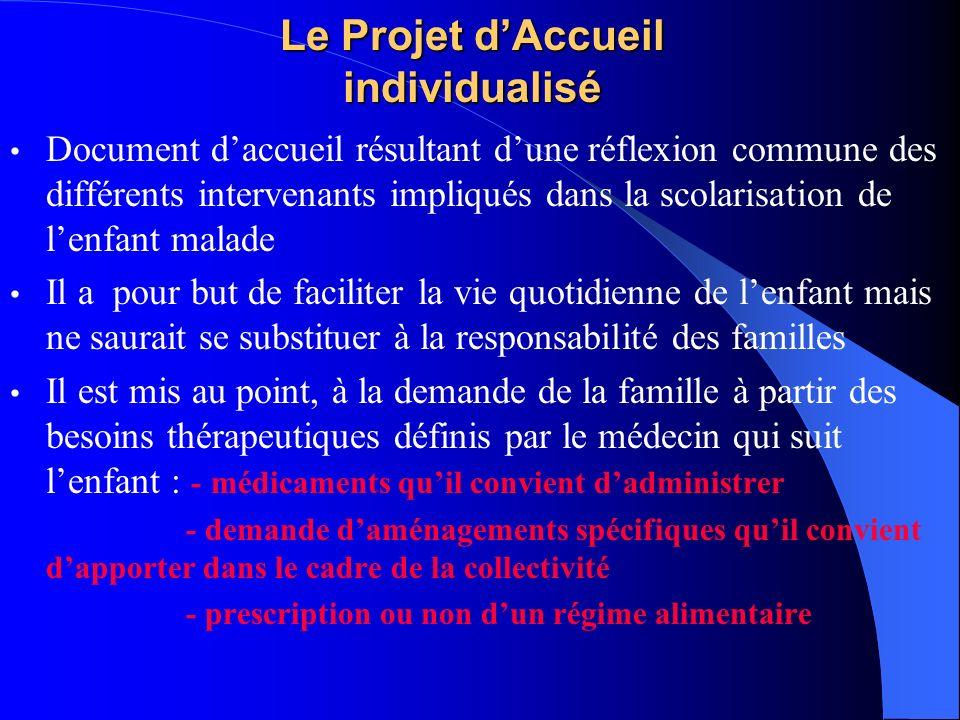 Le Projet dAccueil individualisé Document daccueil résultant dune réflexion commune des différents intervenants impliqués dans la scolarisation de len