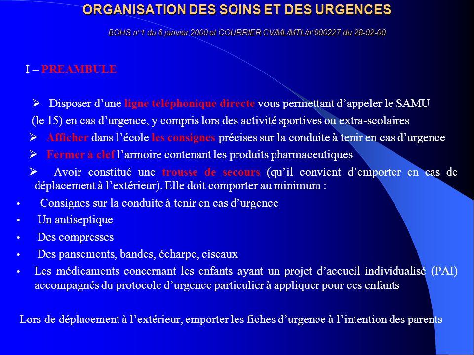 ORGANISATION DES SOINS ET DES URGENCES BOHS n°1 du 6 janvier 2000 et COURRIER CV/ML/MTL/n°000227 du 28-02-00 I – PREAMBULE Disposer dune ligne télépho
