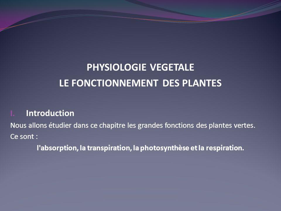 PHYSIOLOGIE VEGETALE LE FONCTIONNEMENT DES PLANTES I. Introduction Nous allons étudier dans ce chapitre les grandes fonctions des plantes vertes. Ce s