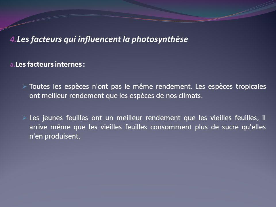 4. Les facteurs qui influencent la photosynthèse a. Les facteurs internes : Toutes les espèces n'ont pas le même rendement. Les espèces tropicales ont