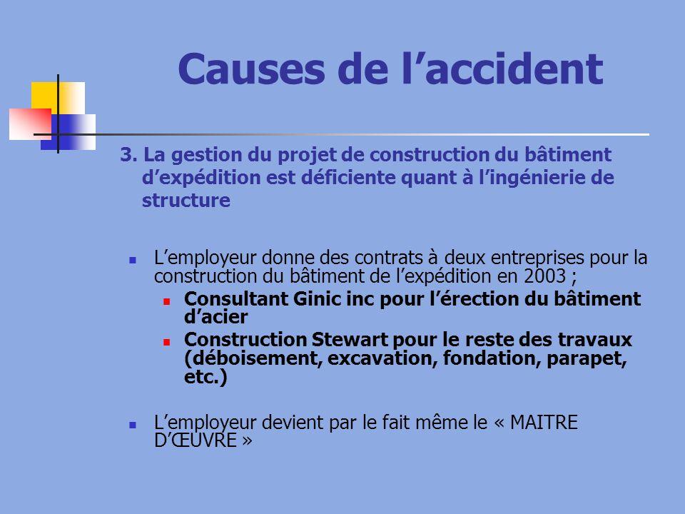 Causes de laccident 3. La gestion du projet de construction du bâtiment dexpédition est déficiente quant à lingénierie de structure Lemployeur donne d