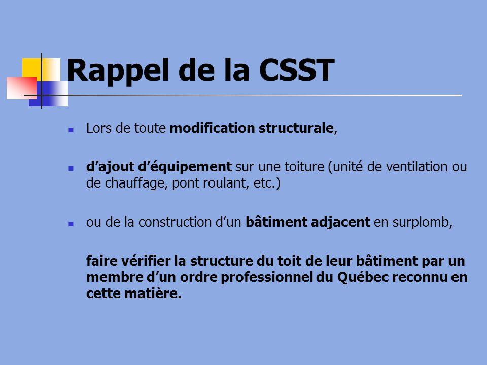 Rappel de la CSST Lors de toute modification structurale, dajout déquipement sur une toiture (unité de ventilation ou de chauffage, pont roulant, etc.