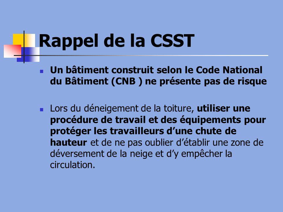 Rappel de la CSST Un bâtiment construit selon le Code National du Bâtiment (CNB ) ne présente pas de risque Lors du déneigement de la toiture, utilise