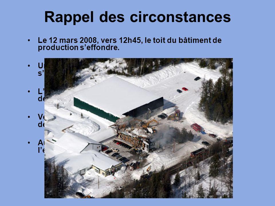 Rappel des circonstances Le 12 mars 2008, vers 12h45, le toit du bâtiment de production seffondre. Un incendie détruit la partie avant du bâtiment qui