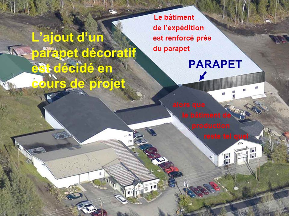 Lajout dun parapet décoratif est décidé en cours de projet PARAPET Le bâtiment de lexpédition est renforcé près du parapet alors que le bâtiment de production reste tel quel
