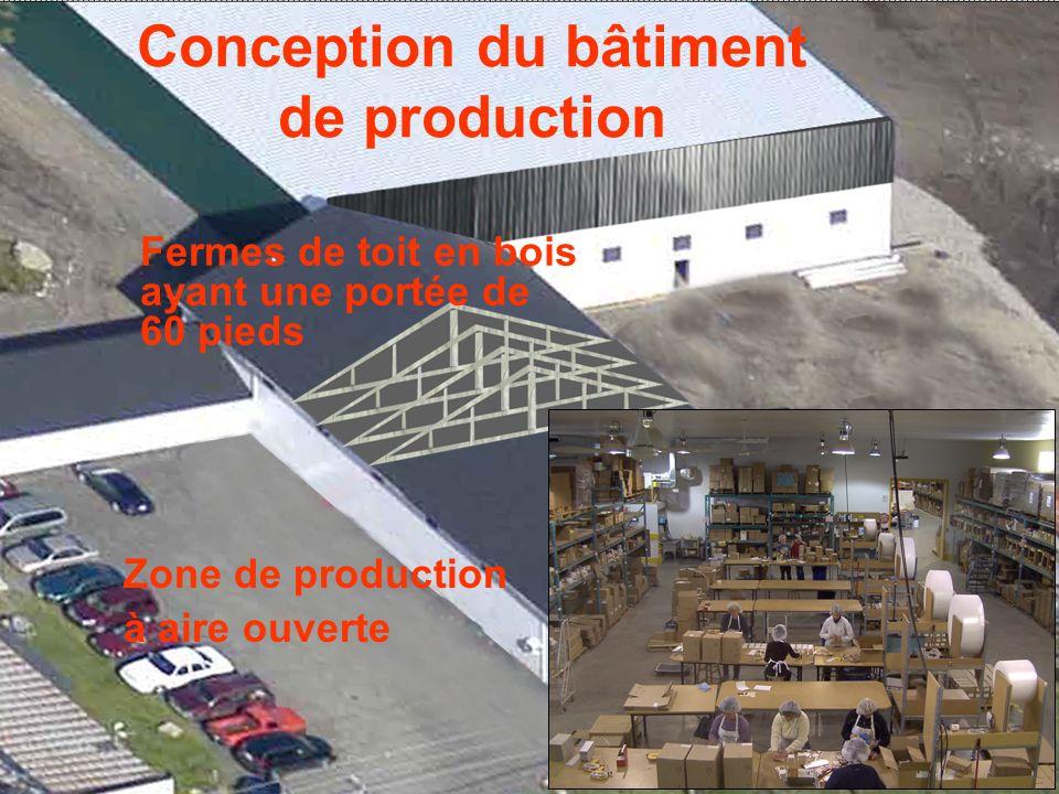 Conception du bâtiment de production Fermes de toit en bois ayant une portée de 60 pieds Zone de production à aire ouverte