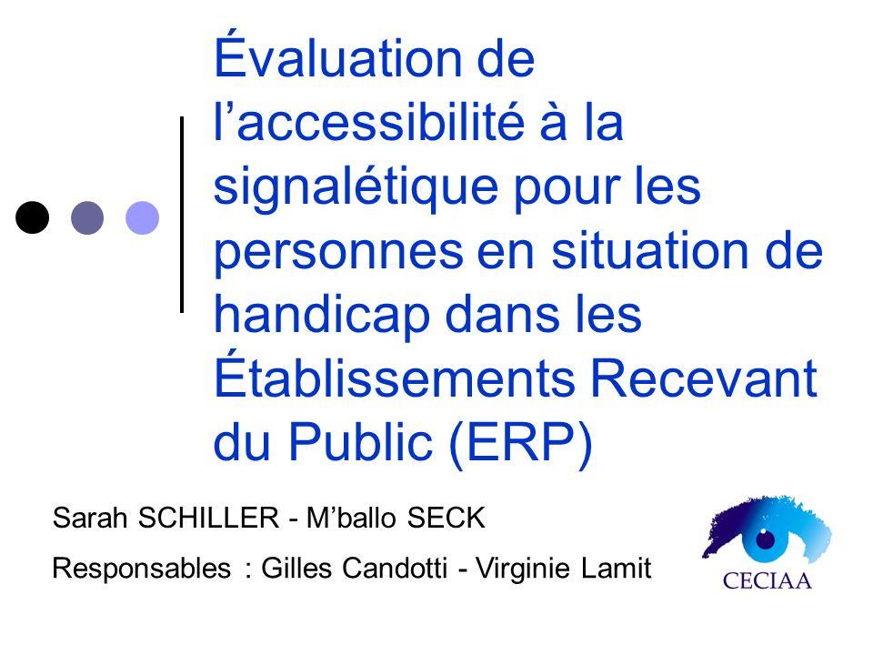 Évaluation de laccessibilité à la signalétique pour les personnes en situation de handicap dans les Établissements Recevant du Public (ERP) Sarah SCHI