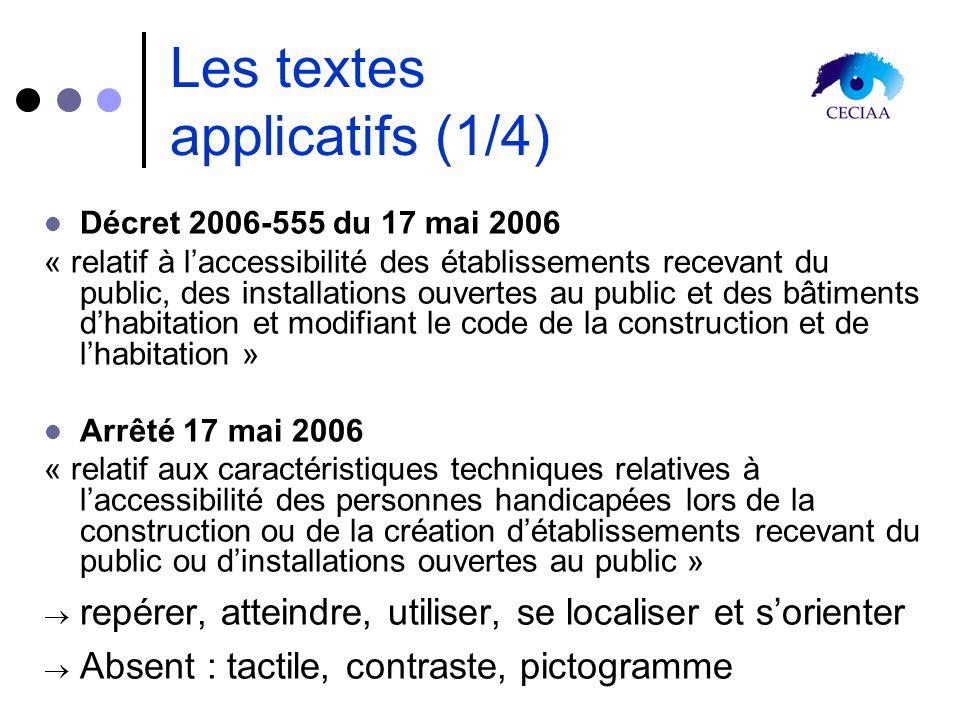 Les textes applicatifs (1/4) Décret 2006-555 du 17 mai 2006 « relatif à laccessibilité des établissements recevant du public, des installations ouvert
