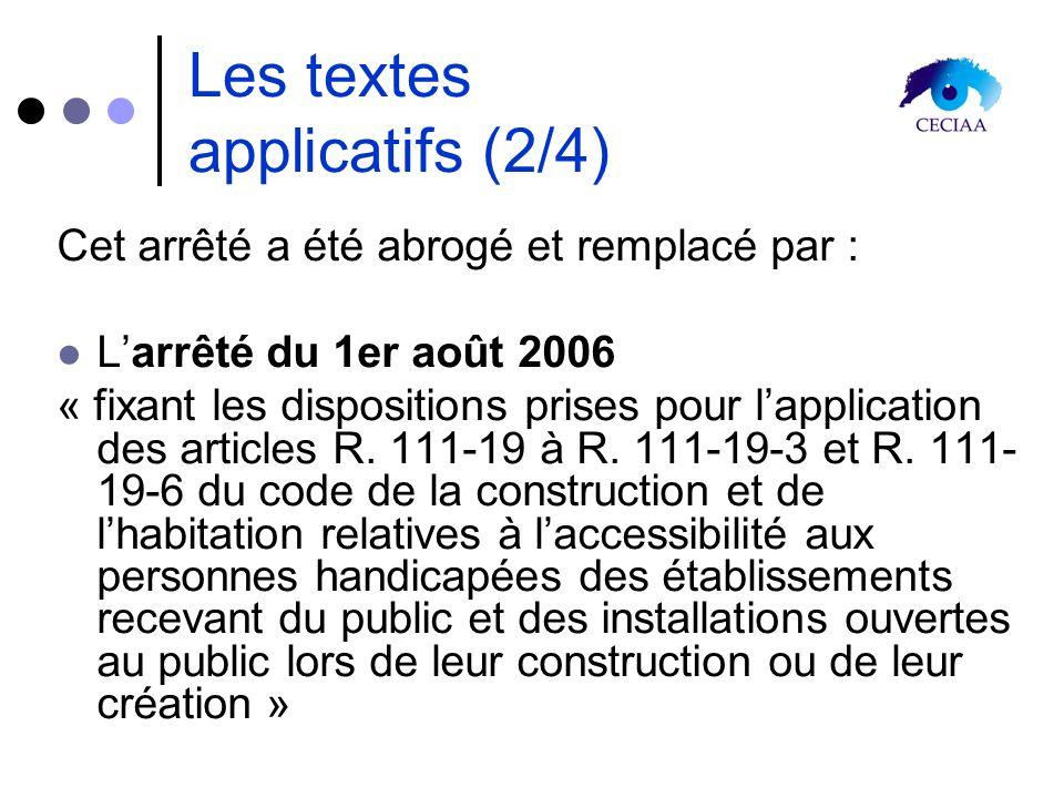 Les textes applicatifs (2/4) Cet arrêté a été abrogé et remplacé par : Larrêté du 1er août 2006 « fixant les dispositions prises pour lapplication des