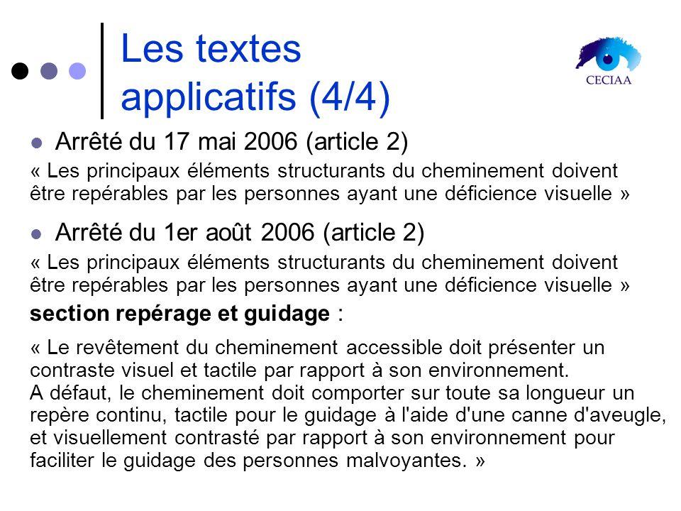 Les textes applicatifs (4/4) Arrêté du 17 mai 2006 (article 2) « Les principaux éléments structurants du cheminement doivent être repérables par les p