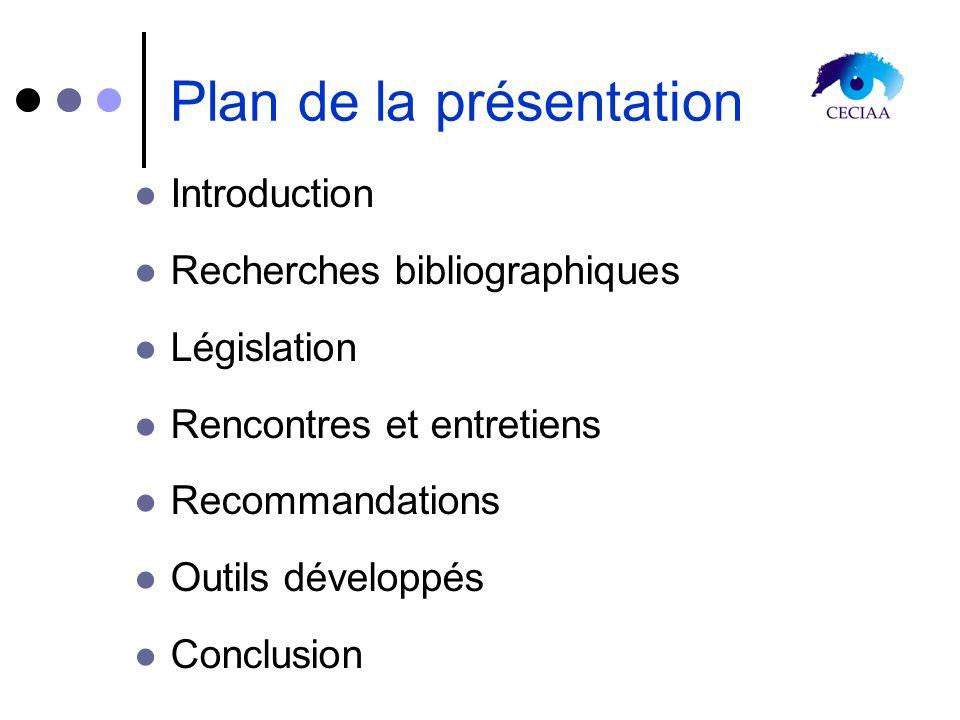 Plan de la présentation Introduction Recherches bibliographiques Législation Rencontres et entretiens Recommandations Outils développés Conclusion