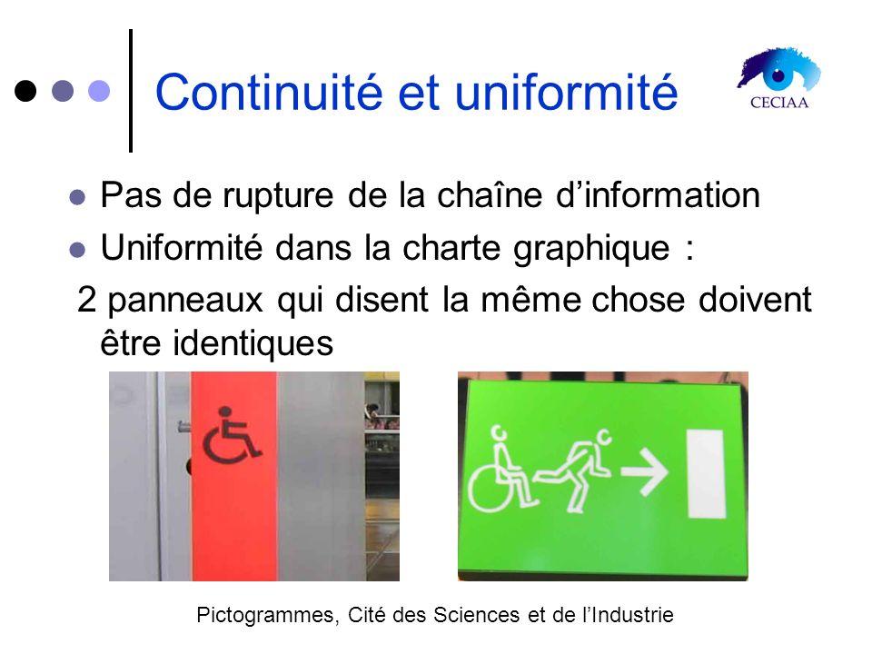 Continuité et uniformité Pas de rupture de la chaîne dinformation Uniformité dans la charte graphique : 2 panneaux qui disent la même chose doivent êt