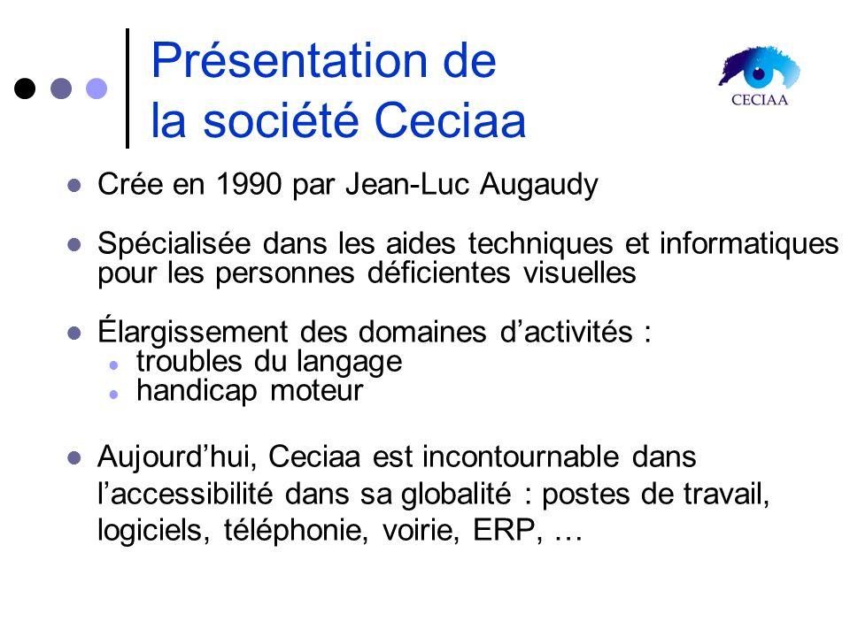 Présentation de la société Ceciaa Crée en 1990 par Jean-Luc Augaudy Spécialisée dans les aides techniques et informatiques pour les personnes déficien
