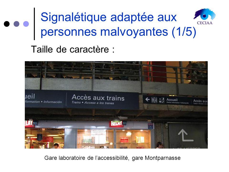 Signalétique adaptée aux personnes malvoyantes (1/5) Taille de caractère : Gare laboratoire de laccessibilité, gare Montparnasse