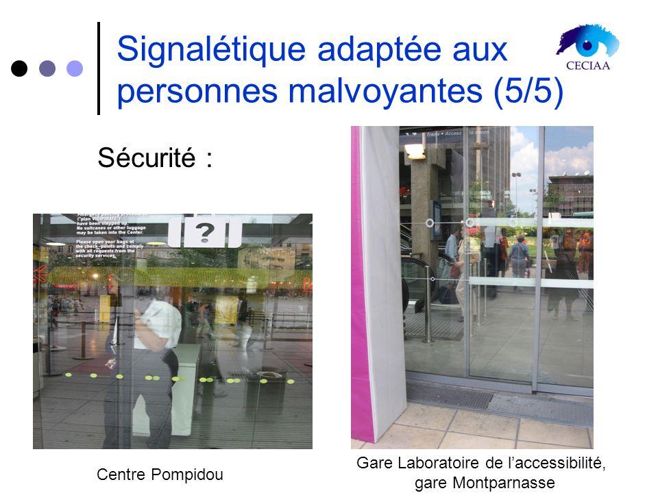 Signalétique adaptée aux personnes malvoyantes (5/5) Sécurité : Centre Pompidou Gare Laboratoire de laccessibilité, gare Montparnasse