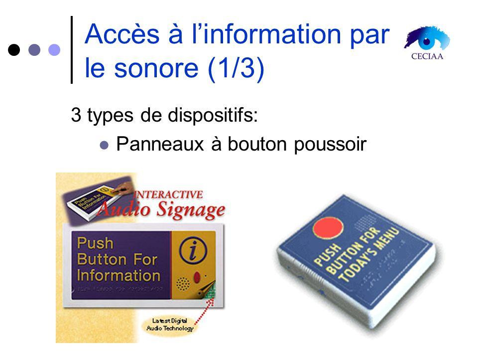 Accès à linformation par le sonore (1/3) 3 types de dispositifs: Panneaux à bouton poussoir
