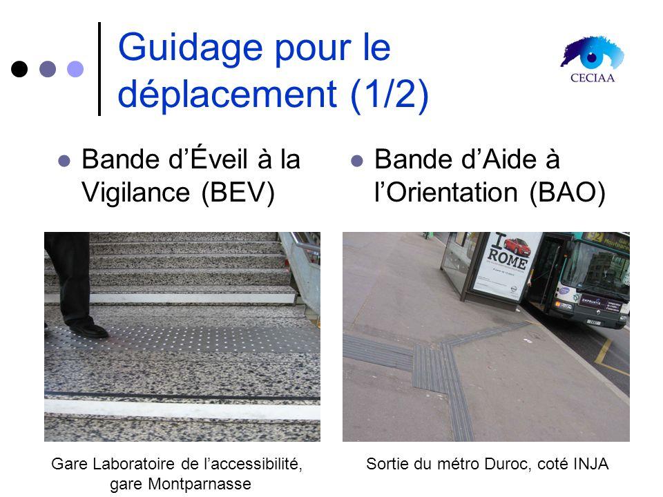 Guidage pour le déplacement (1/2) Bande dÉveil à la Vigilance (BEV) Bande dAide à lOrientation (BAO) Gare Laboratoire de laccessibilité, gare Montparn