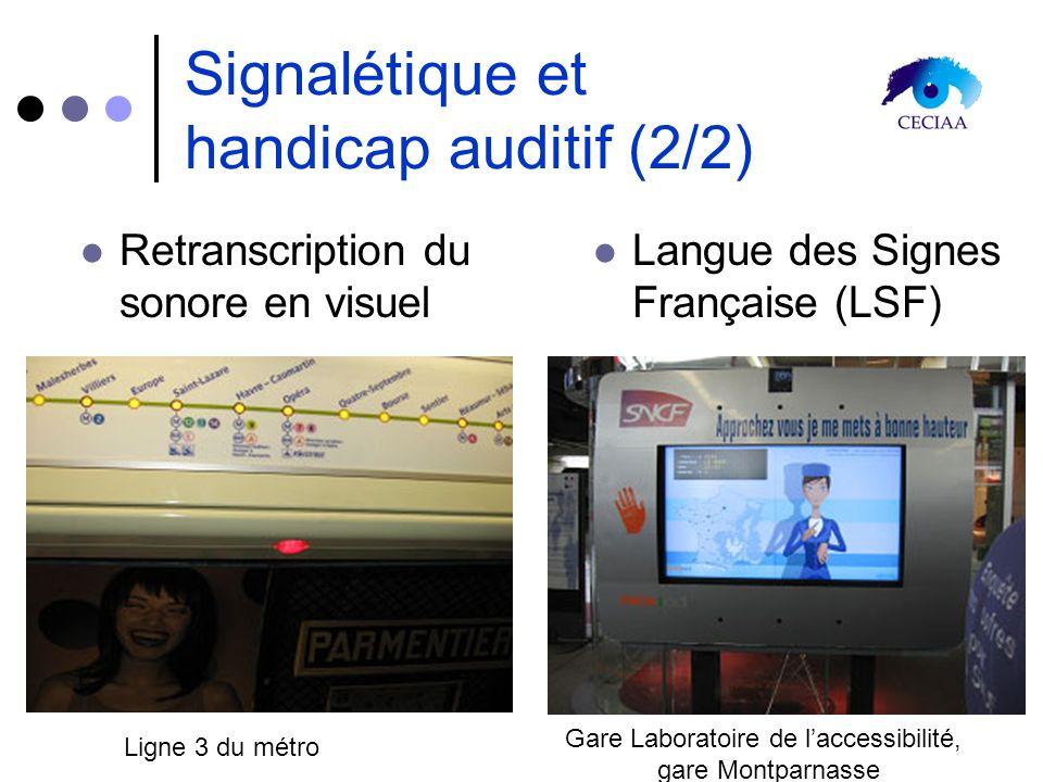 Signalétique et handicap auditif (2/2) Retranscription du sonore en visuel Langue des Signes Française (LSF) Ligne 3 du métro Gare Laboratoire de lacc