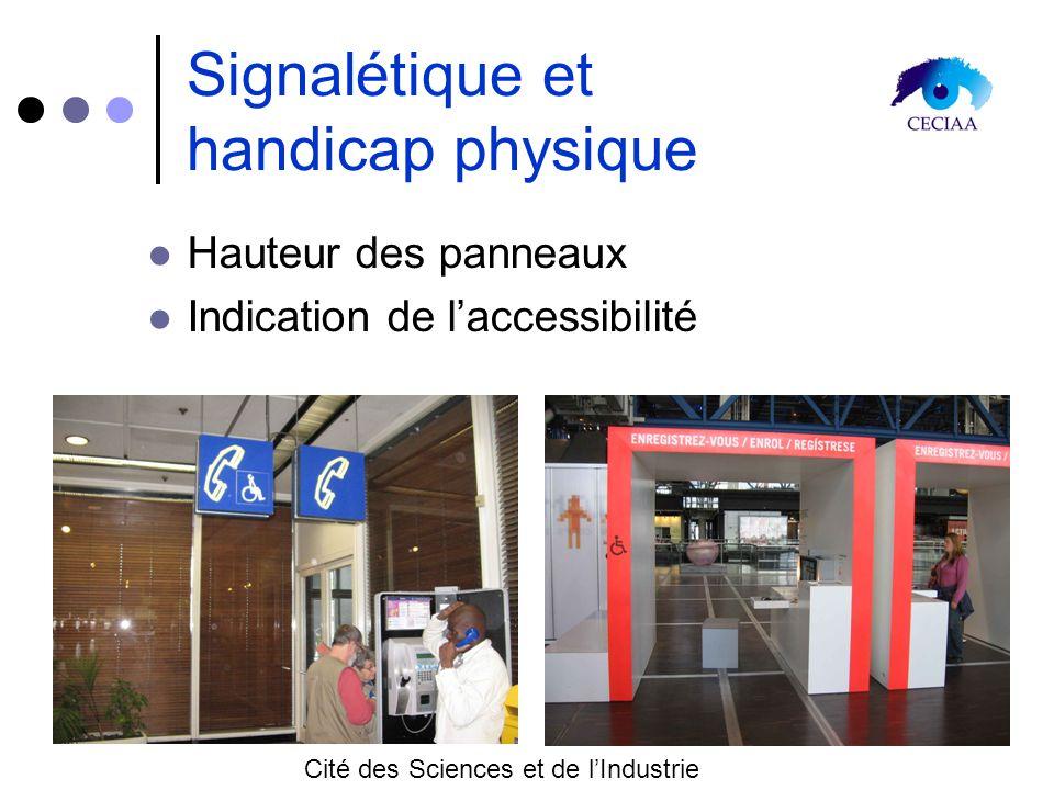 Signalétique et handicap physique Hauteur des panneaux Indication de laccessibilité Cité des Sciences et de lIndustrie