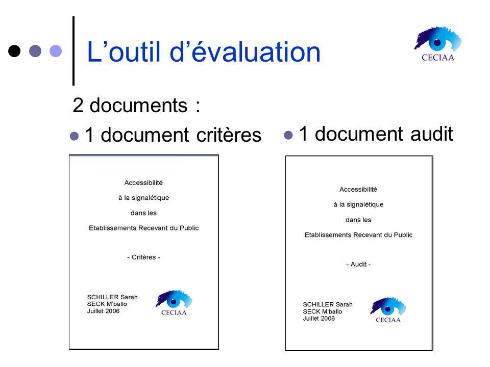 2 documents : 1 document critères 1 document audit