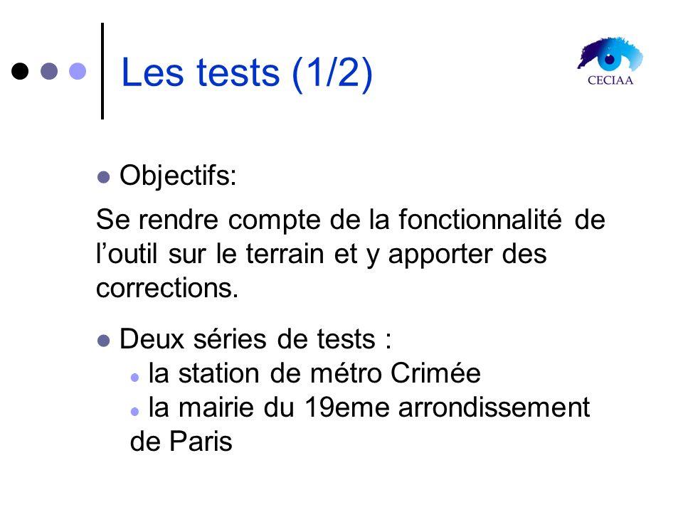 Les tests (1/2) Objectifs: Se rendre compte de la fonctionnalité de loutil sur le terrain et y apporter des corrections. Deux séries de tests : la sta