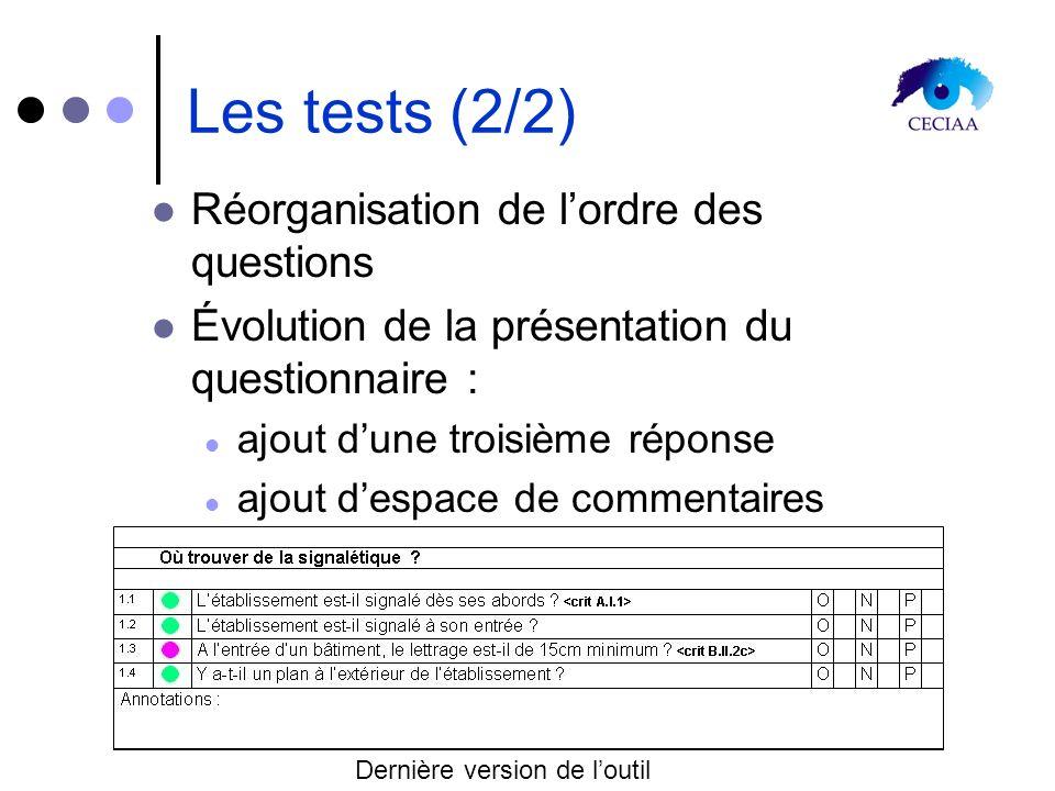 Les tests (2/2) Réorganisation de lordre des questions Évolution de la présentation du questionnaire : ajout dune troisième réponse ajout despace de c