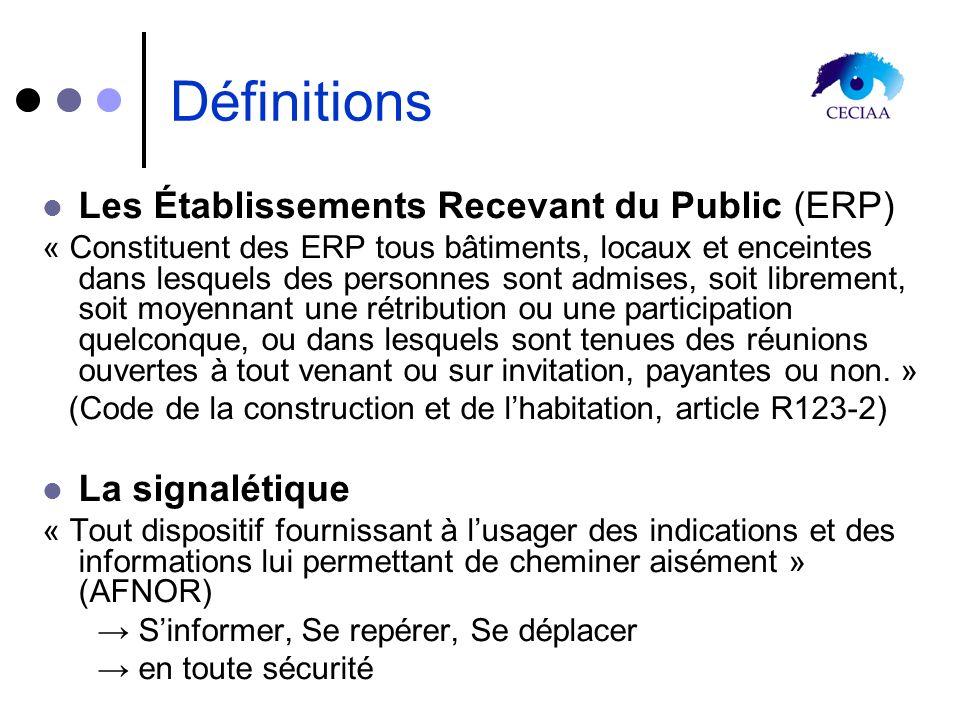 Définitions Les Établissements Recevant du Public (ERP) « Constituent des ERP tous bâtiments, locaux et enceintes dans lesquels des personnes sont adm