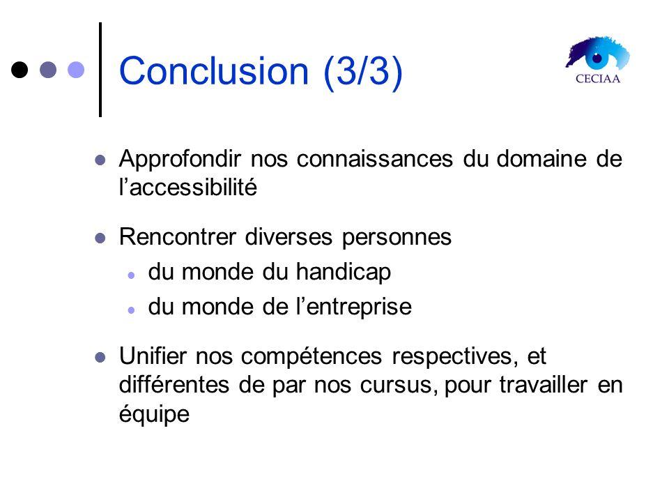 Conclusion (3/3) Approfondir nos connaissances du domaine de laccessibilité Rencontrer diverses personnes du monde du handicap du monde de lentreprise