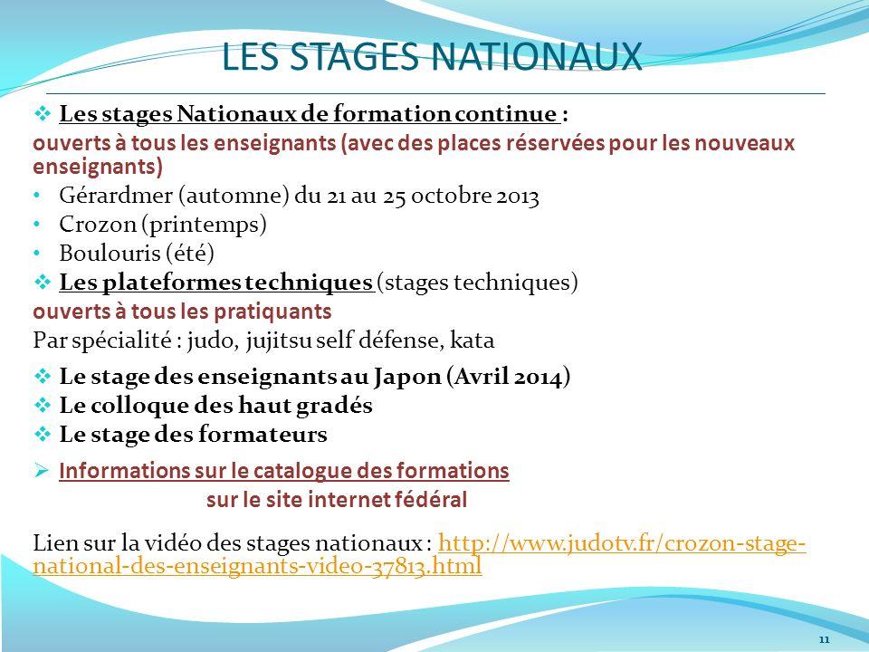 LES STAGES NATIONAUX 11 Les stages Nationaux de formation continue : ouverts à tous les enseignants (avec des places réservées pour les nouveaux ensei