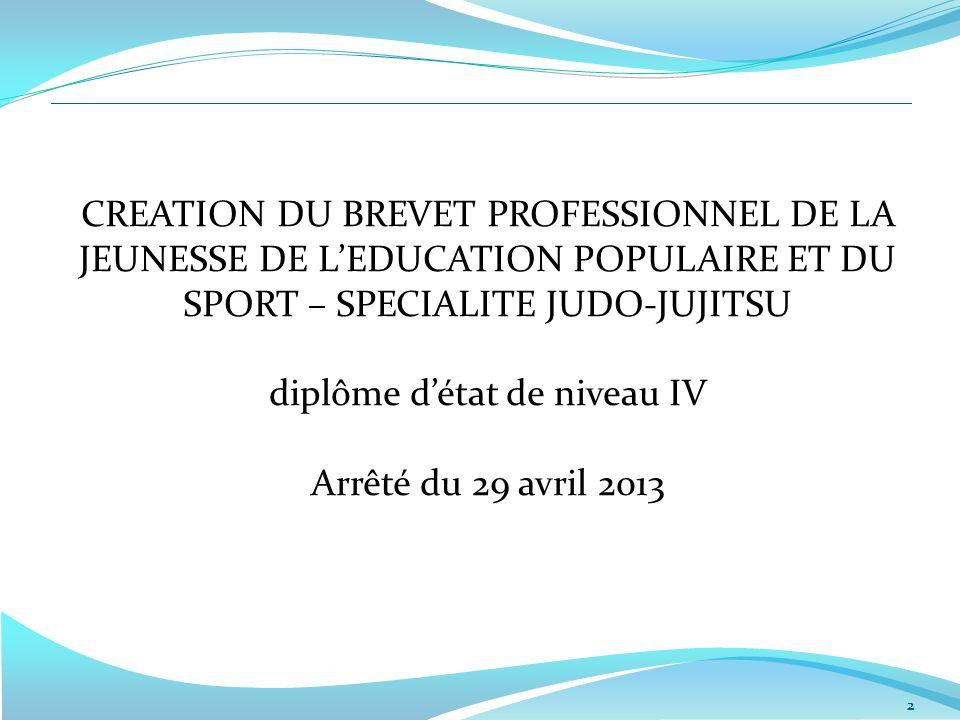 2 CREATION DU BREVET PROFESSIONNEL DE LA JEUNESSE DE LEDUCATION POPULAIRE ET DU SPORT – SPECIALITE JUDO-JUJITSU diplôme détat de niveau IV Arrêté du 29 avril 2013