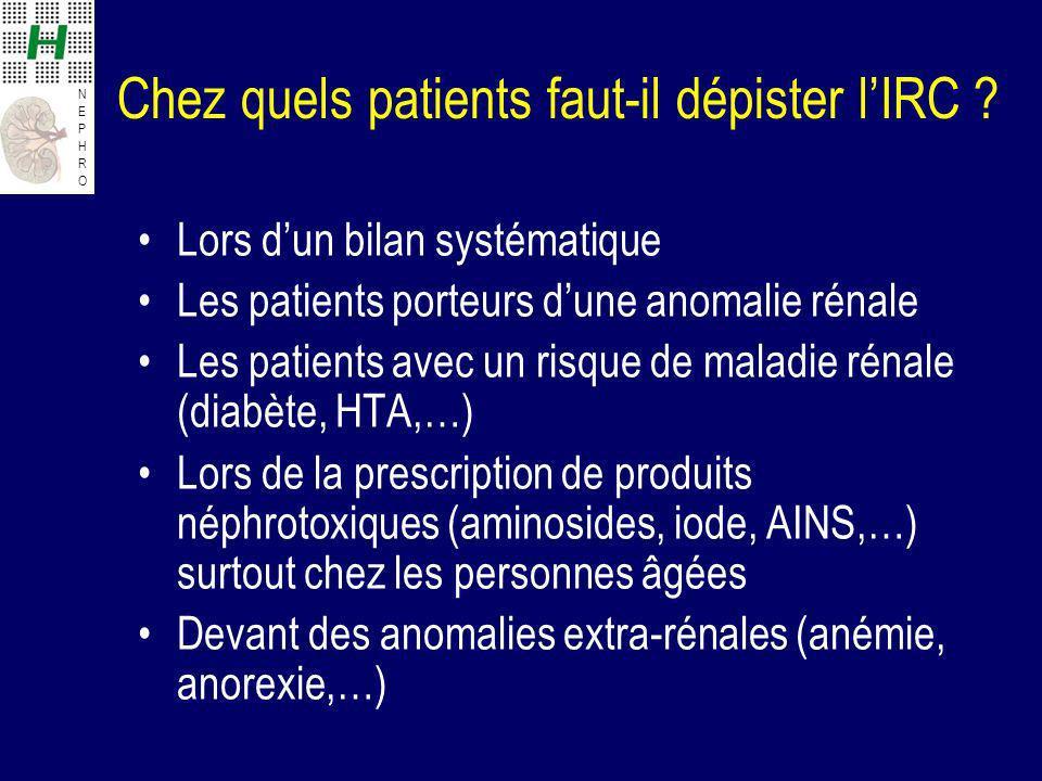 NEPHRONEPHRO Chez quels patients faut-il dépister lIRC ? Lors dun bilan systématique Les patients porteurs dune anomalie rénale Les patients avec un r