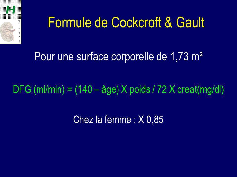 NEPHRONEPHRO Formule de Cockcroft & Gault Pour une surface corporelle de 1,73 m² DFG (ml/min) = (140 – âge) X poids / 72 X creat(mg/dl) Chez la femme : X 0,85