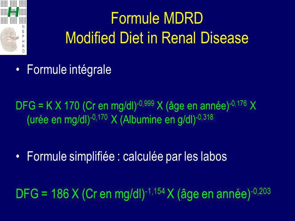NEPHRONEPHRO Formule MDRD Modified Diet in Renal Disease Formule intégrale DFG = K X 170 (Cr en mg/dl) -0,999 X (âge en année) -0,176 X (urée en mg/dl) -0,170 X (Albumine en g/dl) -0,318 Formule simplifiée : calculée par les labos DFG = 186 X (Cr en mg/dl) -1,154 X (âge en année) -0,203