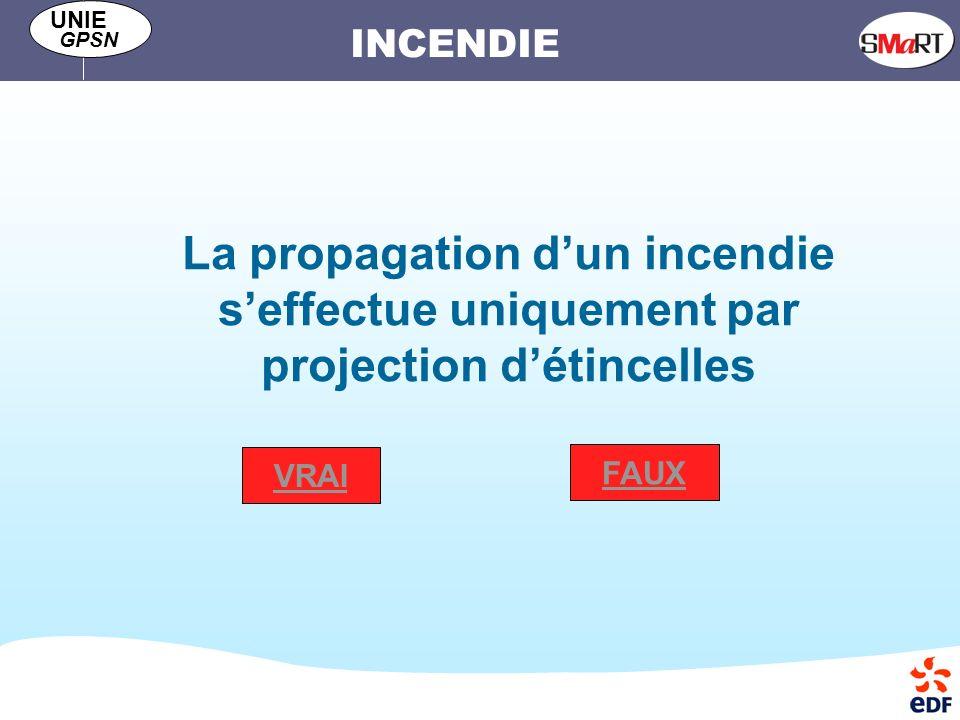 INCENDIE UNIE GPSN La propagation dun incendie seffectue uniquement par projection détincelles VRAI FAUX