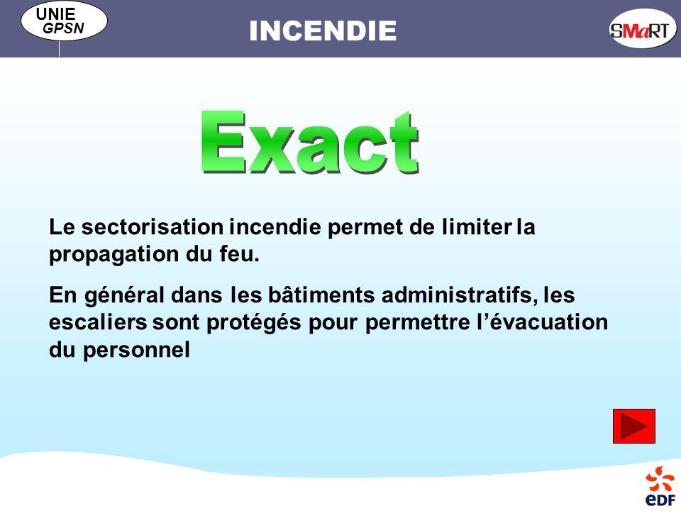 INCENDIE UNIE GPSN Le sectorisation incendie permet de limiter la propagation du feu.