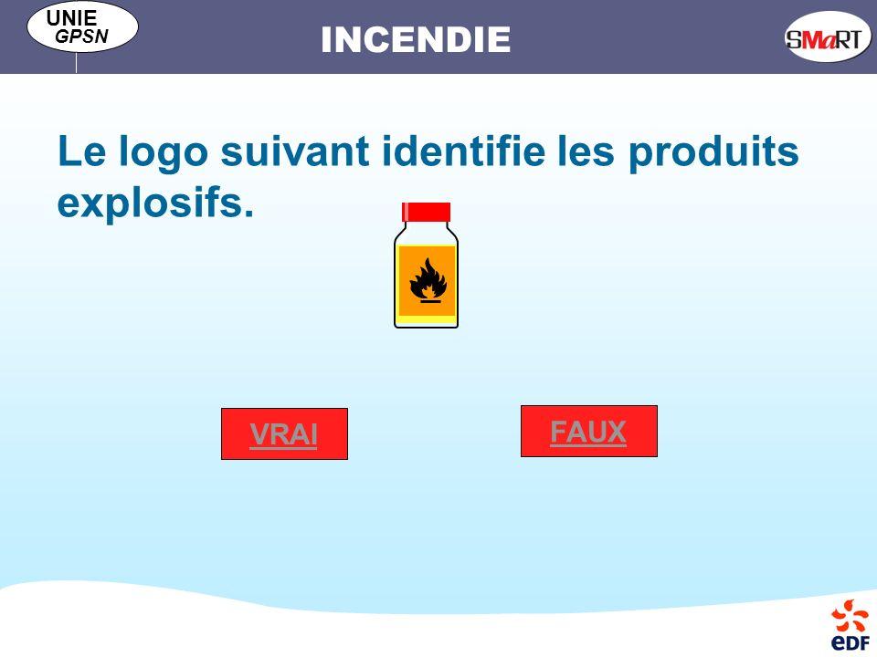 INCENDIE UNIE GPSN Le logo suivant identifie les produits explosifs. VRAI FAUX
