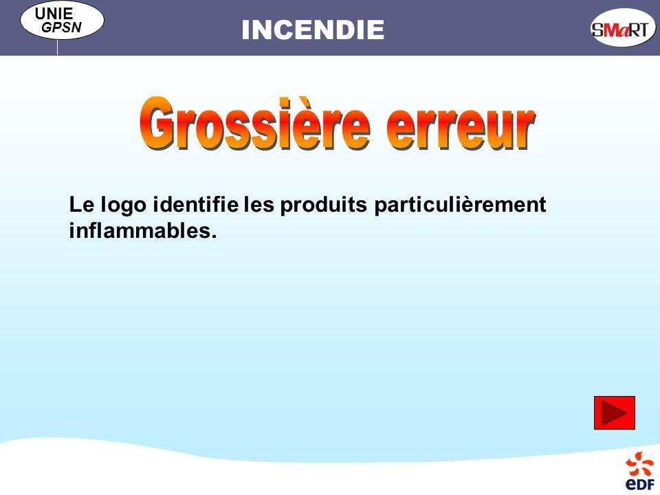 INCENDIE UNIE GPSN Le logo identifie les produits particulièrement inflammables.