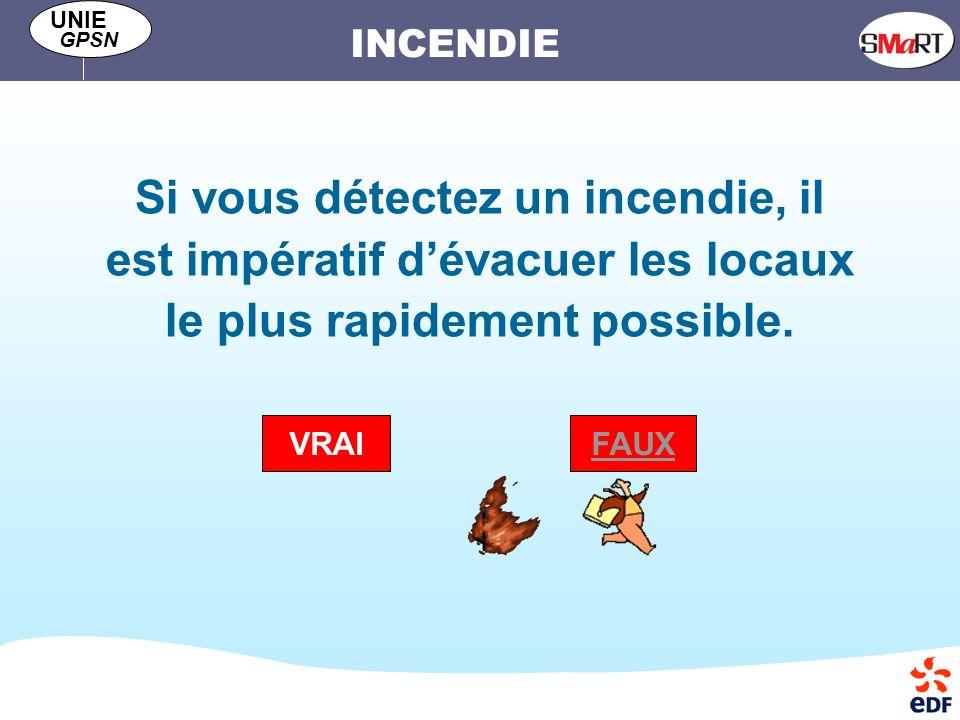 INCENDIE UNIE GPSN Si vous détectez un incendie, il est impératif dévacuer les locaux le plus rapidement possible.