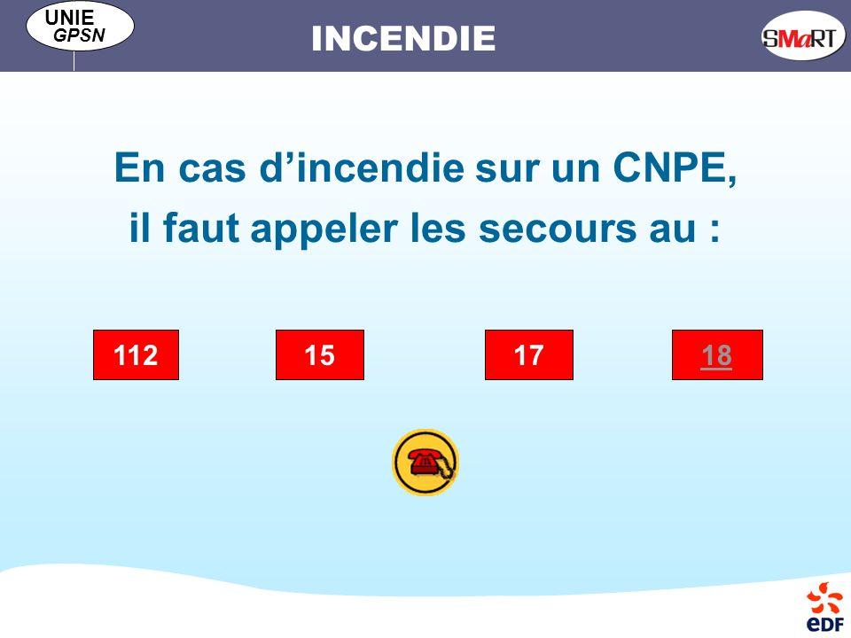 INCENDIE UNIE GPSN En cas dincendie sur un CNPE, il faut appeler les secours au : 151817112