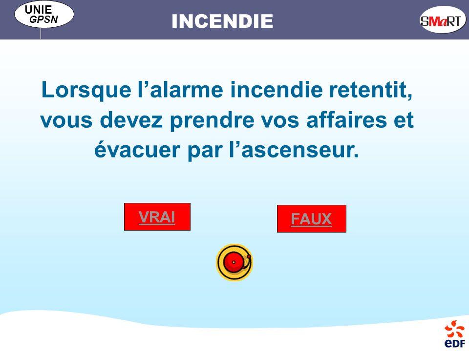 INCENDIE UNIE GPSN Lorsque lalarme incendie retentit, vous devez prendre vos affaires et évacuer par lascenseur.