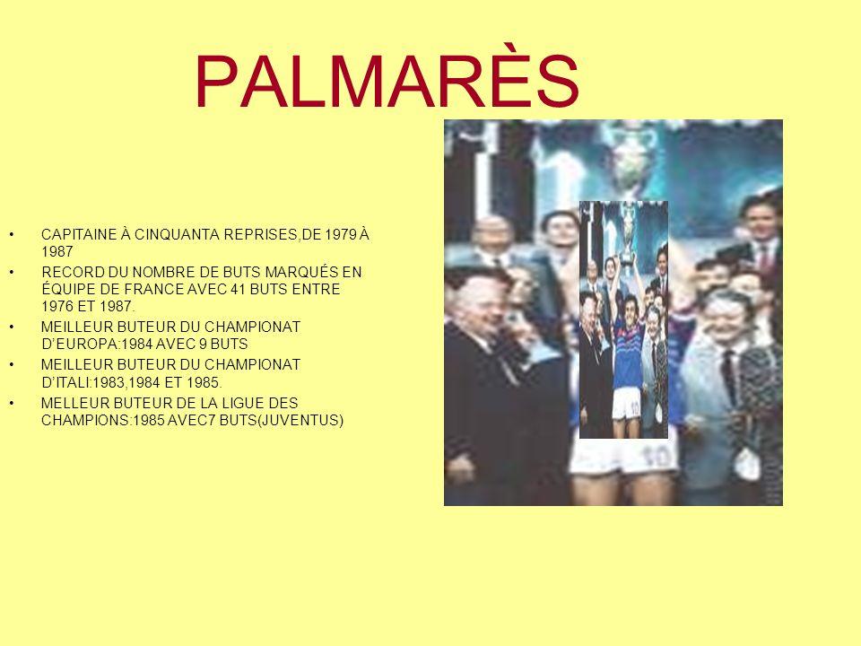 PALMARÈS CAPITAINE À CINQUANTA REPRISES,DE 1979 À 1987 RECORD DU NOMBRE DE BUTS MARQUÉS EN ÉQUIPE DE FRANCE AVEC 41 BUTS ENTRE 1976 ET 1987.