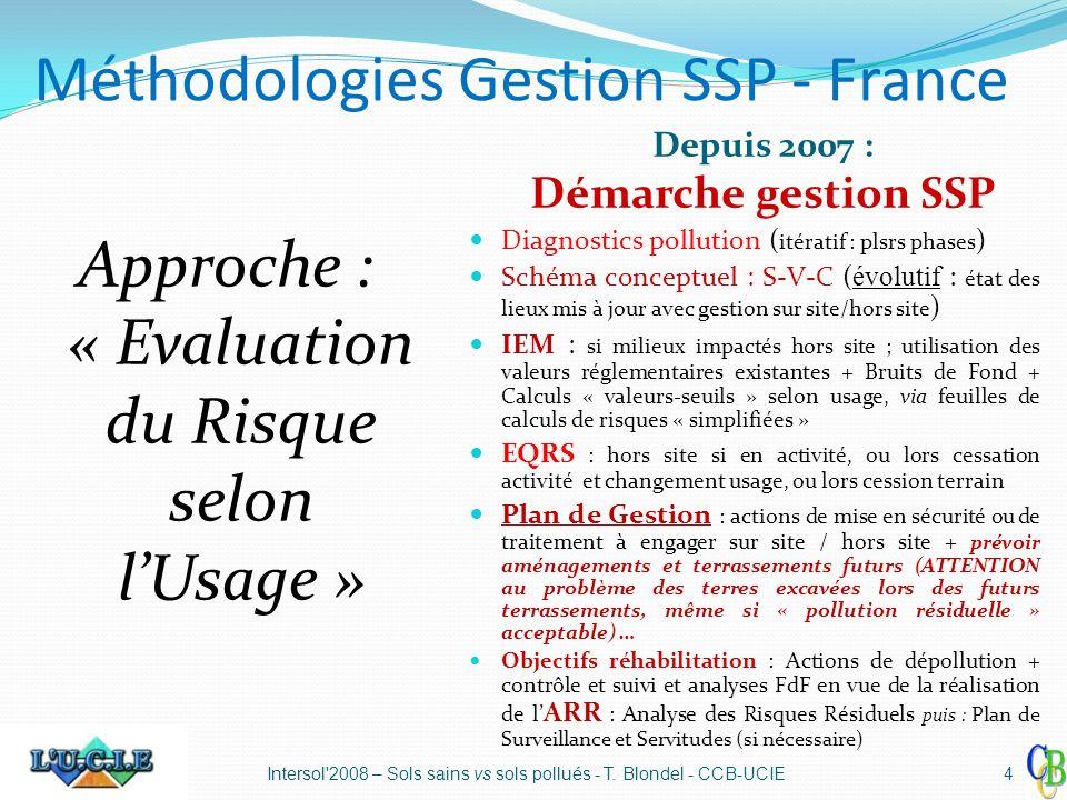 Méthodologies Gestion SSP - France Depuis 2007 : Démarche gestion SSP Diagnostics pollution ( itératif : plsrs phases ) Schéma conceptuel : S-V-C ( év