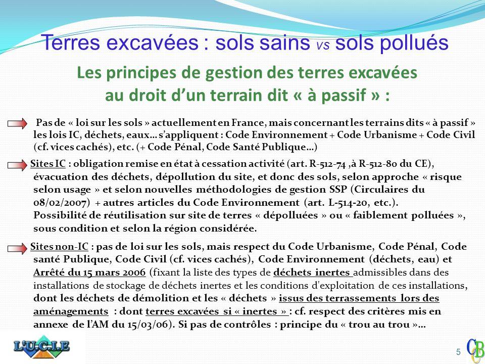 Les principes de gestion des terres excavées au droit dun terrain dit « à passif » : Pas de « loi sur les sols » actuellement en France, mais concerna