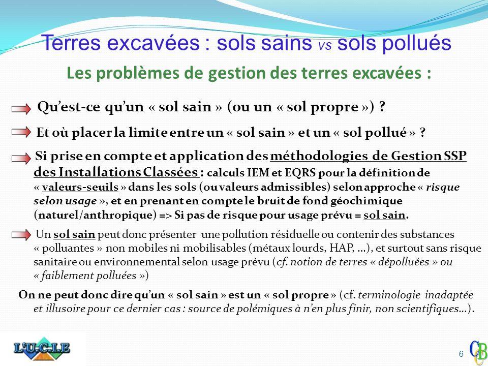 Les problèmes de gestion des terres excavées : MAIS : un site (IC ou non-IC) peut très bien présenter des « sols sains », et néanmoins générer des coûts de gestion de terres excavées « déconcertants » lors des aménagements, même « après dépollution » !!.
